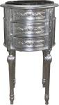 Casa Padrino Barock Kommode / Beistelltisch Silber mit schwarzer Marmorplatte Höhe 72 cm, Durchmesser 41 cm - Nachttisch Konsole