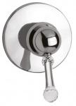 Luxus Dusch Unterputz-Einhebelmischer mit Swarovski Kristallglas Silber Ø 11, 5 cm - Badezimmer Armaturen Made in Italy