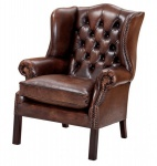 Luxus Echtleder Ohrensessel Chesterfield Vintage Dunkelbraun - Sessel mit echtem Leder