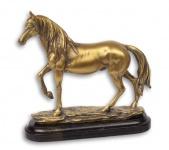 Casa Padrino Figur Pferd auf Sockel Gold 19, 7 x 5, 7 x 20, 8 cm Mod3 - Wohnzimmer Dekoration
