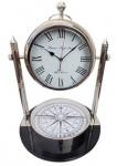 Casa Padrino Tischuhr mit Kompass Silber / Schwarz Ø 48 x H. 63, 5 cm - Wohnzimmer Deko