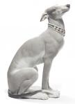 Casa Padrino Luxus Porzellan Skulptur Windhund Grau / Weiß 11 x H. 30 cm - Handgefertigte & Handbemalte Luxus Deko Figur