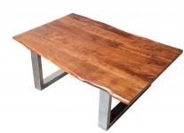 Casa Padrino Designer Massivholz Akazie Couchtisch Natur Braun 120 x H. 45 cm - Salon Wohnzimmer Tisch
