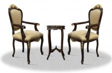 Casa Padrino Barock Esszimmerstuhl Set mit Beistelltisch dunkelbraun / gold / bronze - Antik Stil Möbel