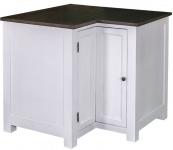 Casa Padrino Landhausstil Küchen Eckschrank Weiß / Schwarz 98 x 98 x H. 90 cm - Landhausstil Küchenschrank mit Tür