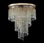 Casa Padrino Barock Kristall Decken Kronleuchter Gold 42 x H 50 cm Antik Stil - Möbel Lüster Leuchter Deckenleuchte Deckenlampe