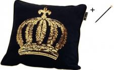 Harald Glööckler Designer Zierkissen 50 x 50 cm Krone mit Pailletten Schwarz / Gold + Casa Padrino Luxus Barock Bleistift mit Kronendesign