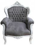 Casa Padrino Barock Sessel Lord Grau / Weiß - Antik Stil