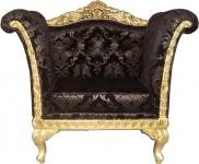 Casa Padrino Barock Lounge Sessel Schwarz Muster / Gold Möbel Antik Stil - Wohnzimmer Club Möbel Sessel