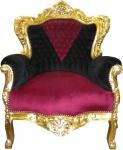 Barock Sessel King Schwarz/Rot/Gold