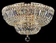 Casa Padrino Barock Kristall Decken Kronleuchter Gold 46 x H 32 cm Antik Stil - Möbel Lüster Leuchter Hängeleuchte Hängelampe