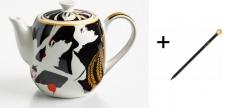 Harald Glööckler Porzellan Teekanne Mod1 + Luxus Bleistift von Casa Padrino - Barock Dekoration