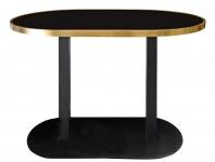 Casa Padrino Luxus Esstisch Schwarz / Gold 110 x 70 x H. 76 cm - Designer Esszimmermöbel