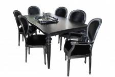 Casa Padrino Design Esszimmerset Schwarz/Silber - Ausziehbar Esstisch + 6 Stühle