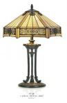 Casa Padrino Tiffany Tischleuchte Durchmesser 40cm, Höhe 59cm Mod11 Mosaik Leuchte Lampe Hockerleuchte Art Deco Jugendstil