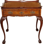 Casa Padrino Barock Luxux Konsole Teetisch Mahagoni Braun 80 x 60 x H. 78 cm - Antik Stil Möbel - Barock Esstisch - Limited Edition