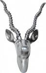 Casa Padrino Designer Geweih Deko Wand Gazelle Figur aus poliertem Aluminium - Wandfigur - Geweih - Wandgeweih