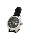 Casa Padrino Designer Luxus Uhr Nickel finish mit schwarzem Leder 10 x H. 16 cm - Luxus Kollektion