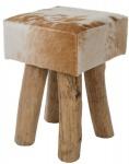 Casa Padrino Landhausstil Fellhocker Braun / Weiß / Naturfarben 30 x 30 x H. 45 cm - Sitzhocker mit Massivholz Beinen