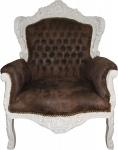 Casa Padrino Barock Sessel Braun Lederoptik / Creme - Limited Edition