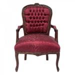 Casa Padrino Barock Salon Stuhl Bordeaux Rot Muster / Braun - Stühle Möbel