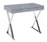 Casa Padrino Schreibtisch Grau / Silber 100cm mit Schublade - Designer Kollektion