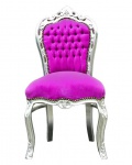 Barock Esszimmer Stuhl Pink / Silber