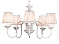 Barock Pendelleuchte mit Plissee-Schirm 5-Flammig, Weiß Leuchte Lampe