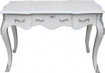 Casa Padrino Luxus Barock Konsolentisch Weiss/Silber 120 x 80 x 58 cm - Damen Schreibtisch - Sekretär Luxus Möbel