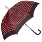 Jean Paul Gaultier Luxus Designer Damen Regenschirm in schwarz im Marine-Look mit roten Streifen - Luxury Edition