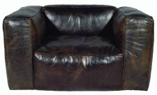 Casa Padrino Echtleder Wohnzimmer Sessel Vintage Cigar 124 x 110 x H. 67 cm - Luxus Wohnzimmermöbel
