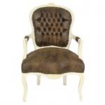 Casa Padrino Barock Salon Stuhl Braun Lederoptik / Creme - Möbel Antik Stil