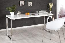 Casa Padrino Designer Schreibtisch Weiss Hochglanz 140 cm - Sekretär Konsole - Computertisch