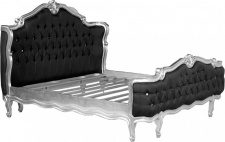 Barock Bett St. Tropez Schwarz / Silber mit Bling Bling Glitzersteinen 180 x 200 cm aus der Luxus Kollektion von Casa Padrino