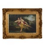 Handgemaltes Barock Öl Gemälde Engel Bildniss 3 Gold Prunk Rahmen 130 x 100 x 10 cm - Massives Material