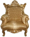 Casa Padrino Barock Sessel Al Capone Mod2 Gold Muster / Gold 85 x 65 x H. 127 cm - Antik Stil