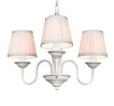 Barock Pendelleuchte mit Plissee-Schirm 3-Flammig, Weiß Leuchte Lampe
