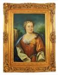 Handgemaltes Barock Öl Gemälde Dame Gold Prunk Rahmen 130 x 100 x 10 cm - Massives Material