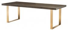 Casa Padrino Luxus Edelstahl Esstisch mit Eichenfurnier Tischplatte Dunkelbraun / Messing 230 x 100 x H. 75, 5 cm - Luxus Qualität