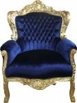"Casa Padrino Barock Sessel "" King"" Royalblau/Gold"