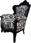 Casa Padrino Barock Sessel King Schwarz / Weiß 85 x 85 x H. 120 cm - Sessel im Antik Stil