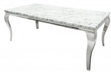 Casa Padrino Designer Esstisch mit Marmor 200 cm Weiss / Grau - Modern Barock