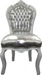 Casa Padrino Barock Esszimmer Stuhl Silber Lederoptik / Weiß
