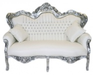 Casa Padrino Barock 2er Sofa Master Weiß Lederoptik / Silber - Wohnzimmer Couch Möbel Lounge