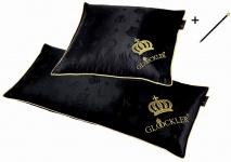 Harald Glööckler Designer Seiden Luxus 3 Kammer Kopfkissen Set 40 x 40 cm & 40 x 80 cm Schwarz / Gold + Casa Padrino Luxus Barock Bleistift mit Kronendesign