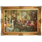Riesiges Handgemaltes Barock Öl Gemälde Literaturabend Mod.3 Gold Prunk Rahmen 225 x 165 x 10 cm - Massives Material
