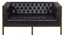 Casa Padrino Chesterfield Echtleder 2-Sitzer Sofa Schwarz / Braun 143 x 78 x H. 71 cm - Hotel Möbel