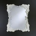 Casa Padrino Barock Wandspiegel Antik Stil Weiß 92 x 110 cm - Barocker Spiegel Antikweiß