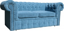 Casa Padrino Chesterfield 2er Sofa in Hell Blau 180 x 100 x H. 80 cm - Luxus Chesterfield Schlafsofa