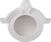 Casa Padrino Jugendstil Antik Shabby Chic Wandspiegel Rund Ornament Weiß Antik Look 91 x 84 cm - Spiegel Barock